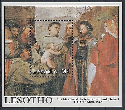 XG-AD428 LESOTHO - Paintings, 1988 Titian, Christmas MNH Sheet