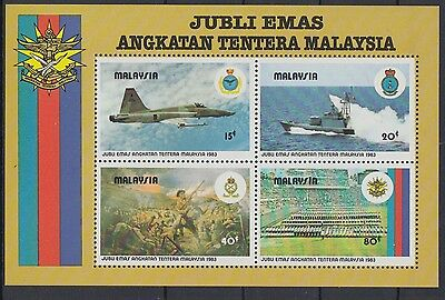 XG-AC739 MALAYSIA - Aviation, 1983 Armed Forces 50Th Anniversary MNH Sheet