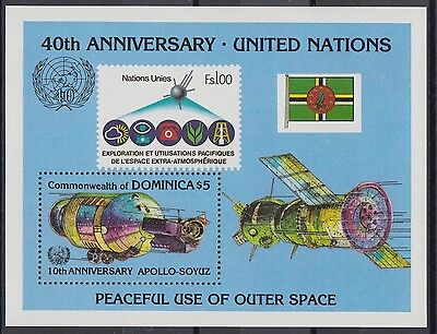 XG-AB977 DOMINICA IND - Space, 1985 United Nations Anniversary MNH Sheet