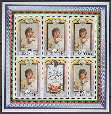 XG-AD391 LESOTHO - Lady Diana, 1982 Birth Of Prince William MNH Sheet