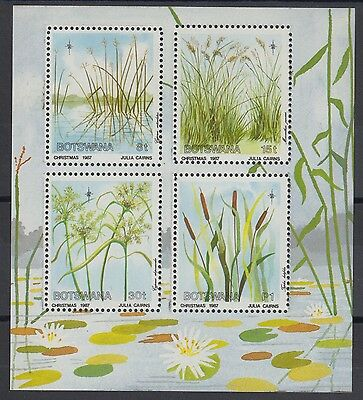 XG-AC919 BOTSWANA - Flowers, 1987 Christmas, Wetland Grasses MNH Sheet