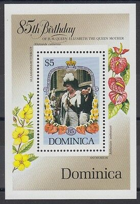 XG-AB971 DOMINICA IND - Royal Wedding, 1985 Queen Mother 85Th Birthday MNH Sheet