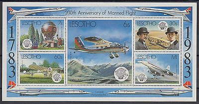 XG-AD394 LESOTHO - Aviation, 1983 Manned Flight Bicentenary MNH Sheet