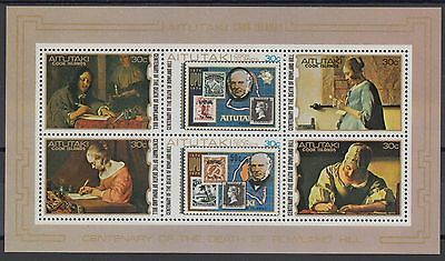 XG-AC862 AITUTAKI IND - Stamp On Stamp, 1979 Rowland Hill, Paintings MNH Sheet