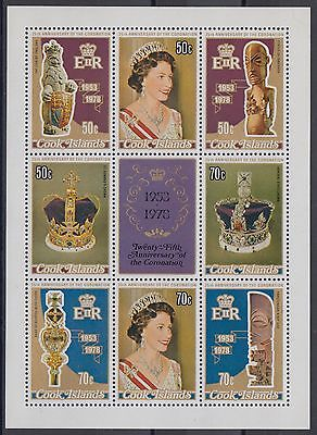 XG-AD924 COOK ISLANDS IND - Qeii, 1978 Silver Coronation, Sheet Of 8 MNH
