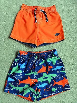 BNWOT 2 Pairs of Boys Shorts: Orange & Sharks: Age 12-18 Months