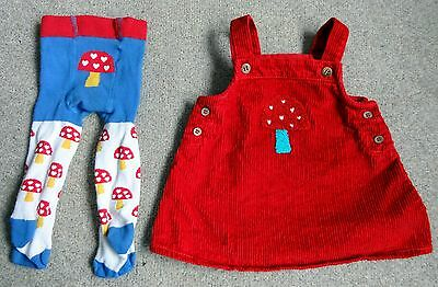 Next Red Corduroy A-Line Dress with Toadstool & Matching Tights: > 3 Months