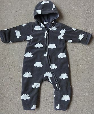 H&M Clouds Polar Fleece Padded All-in-One Winter Snow/Pram Suit/Coat: 0-1 Month