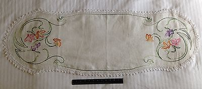 """Vintage Embroidered Table or Dresser Runner Crotched Trim Flowers on White 48"""""""