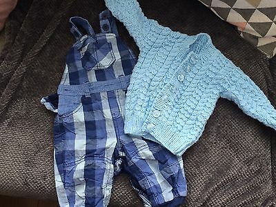 Baby Boy Dungarees And Cardigan 6-9 Months