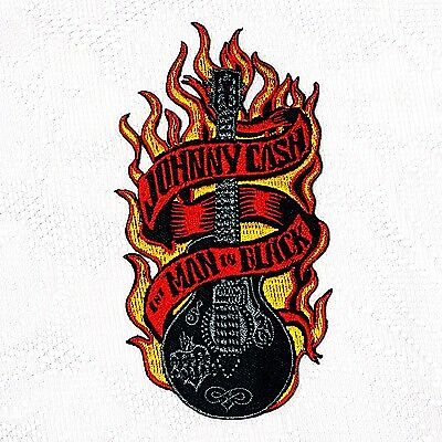 Johnny Cash Country Music Singer Logo Embroidery Patch Songwriter Iron On Guitar