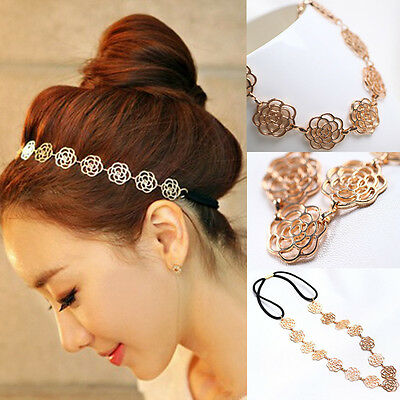 Jewelry Womens Fashion Chain Hollow Rose Flower Elastic Hair Band Headband MGJ02