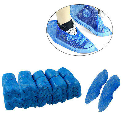 100 x Strong Disposable Shoe Covers Overshoes Blue Carpet Floor Boot Protectors