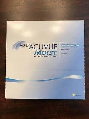 1-Day Acuvue Moist Contact Lenses for Astigmatism D -2.50 *BNIB* 90 Lenses