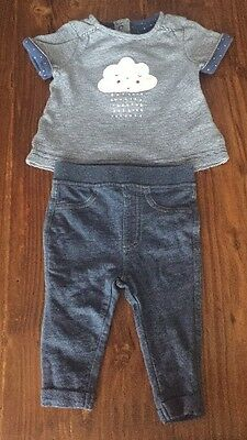 Used Mothercare Girls Cloud Tshirt and Jeggings Set 0-3 Months