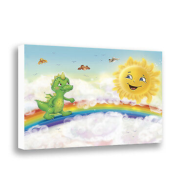 Dragon Wall Art Kids Bedroom Decor Print on Canvas Baby Nursery Children's Art