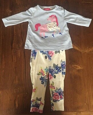 Used Joules Horse Long Sleeved Tshirt and Leggings Set 0-3 Months
