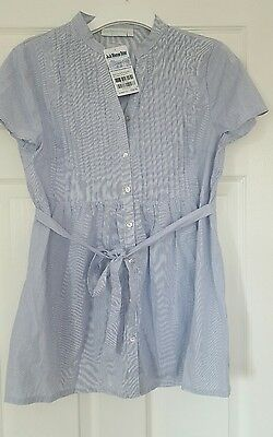 BNWT Jojo Maman Bebe Maternity/Nursing blue and white stripe blouse size 14