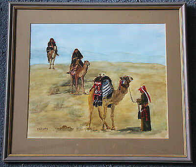 Original watercolour, 'Ships of the desert' by Eunice Deely