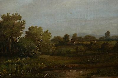 An Original 19th or Early 20thC Oil Painting of a Counrtyside Scene with Cottage