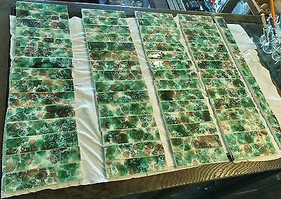 165 pieces VICTORIAN ANTIQUE FIREPLACE MANTLE TILES MAJOLICA Green Mottled Tiles