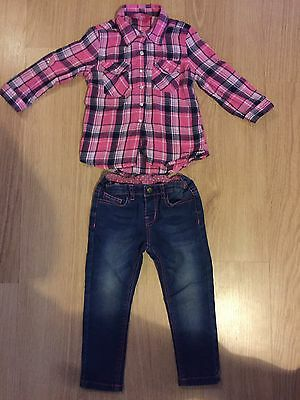 Baby Girls Pink Shirt And Denim Jeans Popper Fastening 18-24 Months 2-3 Years