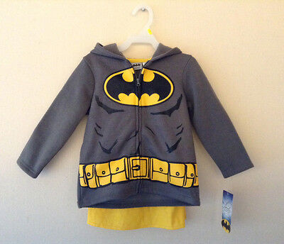 Toddler Boys Size 3T Batman Zip Fleece Hoodie Jacket Black Gray NWT NEW!