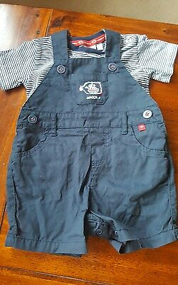 Baby boys 3-6 months Junior J navy blue dungaree outfit (A355)