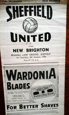 Sheffield Utd V New Brighton 8/1/1949 Fa Cup