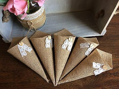 10 x Hessian Confetti Cones With Lace & Heart Buttons