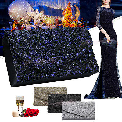 New Women Crossed Sequins Evening Clutch Girly Wedding Party Envelope Handbags