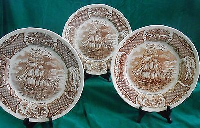 "Set of 3 Alfred Meakin Brown English China Fairwinds 10 5/8"" Dinner Plates"