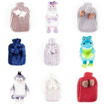 Hot Water Bottles Assorted Design Luxury Plush Covers Perfect Winter Warmers