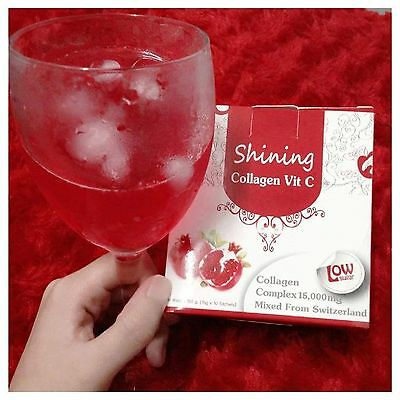 3X Shining Collagen Vit C 15000 mg Skin White Beauty Smooth 30 Sachets