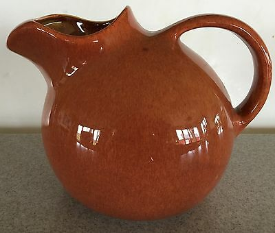 Vtg Franciscan Pottery ice lip ball pitcher water jug unusual rusty orange color