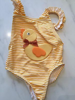 swimming costume baby 6 months yellow striped chicken new bow