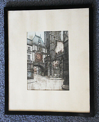 Hand coloured 19th century coloured architectural engraving