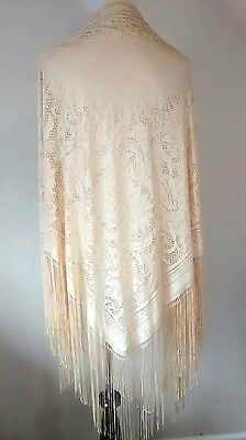 Vintage Silk Lace Piano Shawl Ivory Cream Fringe Floral Antique Look