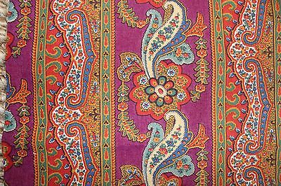 Beautiful French Antique c1840-60 Paisley Wool Challis Printed Fabric-Quilters-D