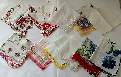 Vintage Handkerchief Lot Bird Rose Heart Floral Crochet Embroidered Tatted
