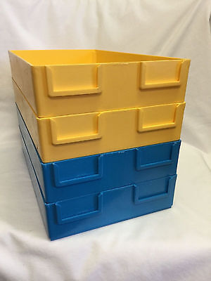 Stackable Optical Job Trays Blue Yellow Set of 18 Plastic Used Clean