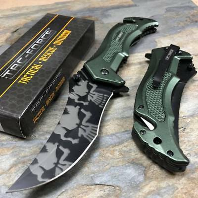 Tac-Force Spring Assisted Tactical Rescue Pocket Knife Skull Camo Blade - Green