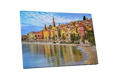 Mention France French Rivera Skyline Gallery Wrapped Canvas Wall Art