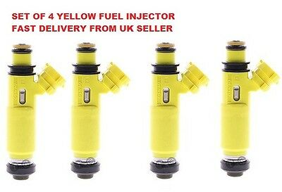 New Mazda Rx8 Mx5 Yellow Fuel Injector Set Of 4 Denso 195500-4450
