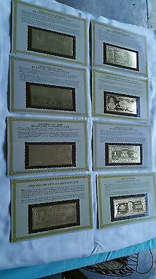 THE DANBURY MINT COMPLETE 8 PIECE 24kt US CURRENCY GOLD DONOMINATION BANKNOTES