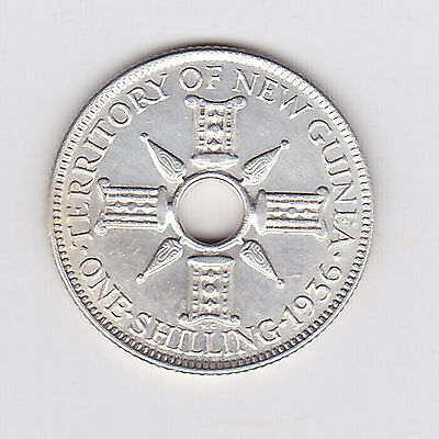 1936 Territory Of New Guinea One Shilling Coin (92.5% Silver) - Great Coin