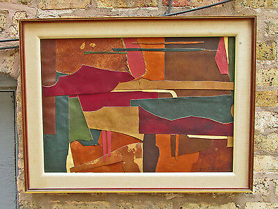 Elvie Ten Hoor Old Piano Signed Original Art Leather Collage Listed Artist 1955