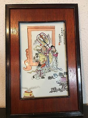 Beautiful Chinese Hand Painted Porcelain Ceramic Tile Chinese Story