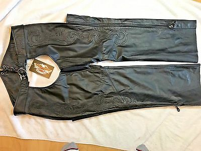 Harley Davidson Motorcycles Genuine Leather Riding Chaps - eden XL NWT womens