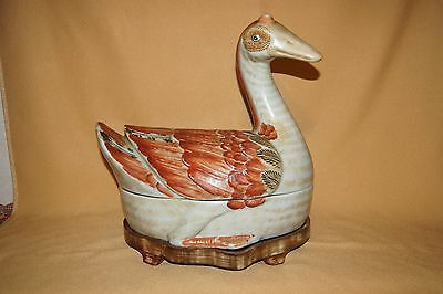 Chinese Goose Tureen With Heavy Wooden Stand